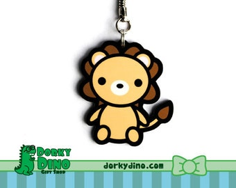 Lion Keychain: Cute Zoo Animal Key Chain, Kawaii Anime Style Accessory, Large Cat Key Ring, Baby Lion