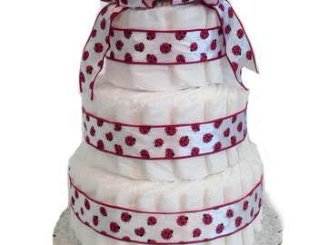 3 Layer Ladybug -  Baby Shower Diaper Cake Gift Set