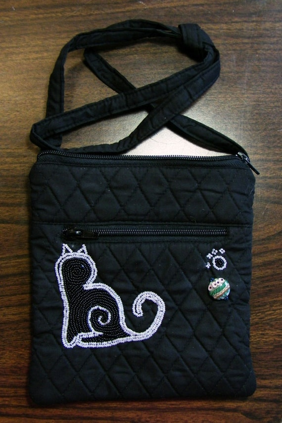 Beaded Black and White Cat Mini Purse