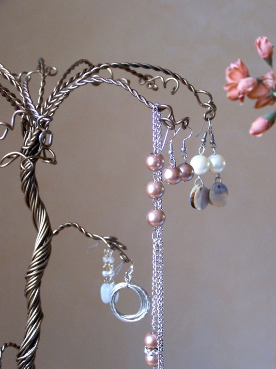 """SALE - Jewelry Tree Wire Stand Display - Earrings and Necklace Holder -  Medium Palm Tree 17"""""""