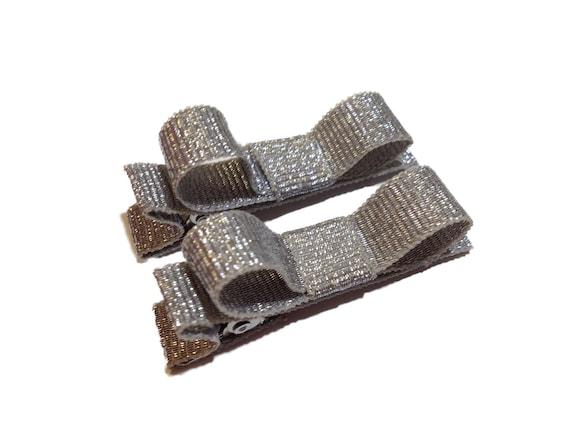 Small silver hair clips