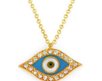 Diamond evil eye pendant.