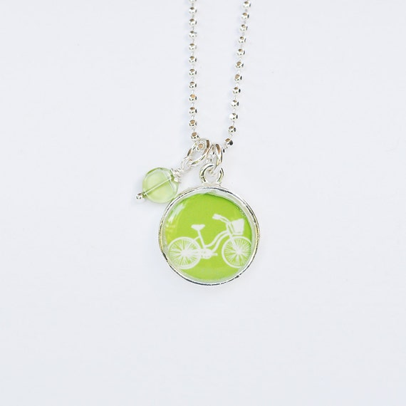 Bike Necklace Apple Green Bicycle Necklace Personalized Bike Necklace Choose Your Color