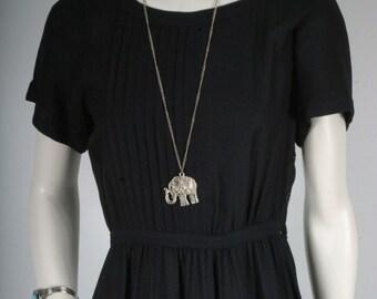 Black dress pleated sunday tea party size XS S 6