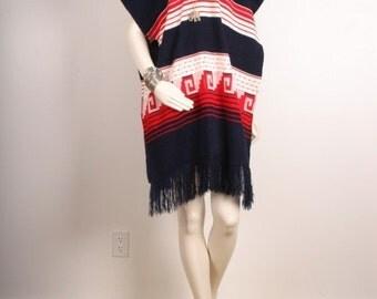 SALE Vintage poncho cape fringe tassle blue white red women size OSFA one size fits all
