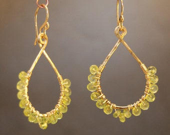 Hammered drops with choice of gemstones Aphrodite 33