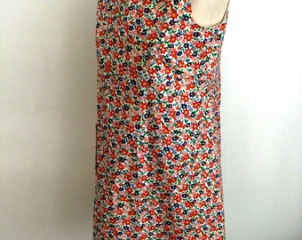 Vintage 70s Mod Summer Flower Mini Dress with Front Pockets