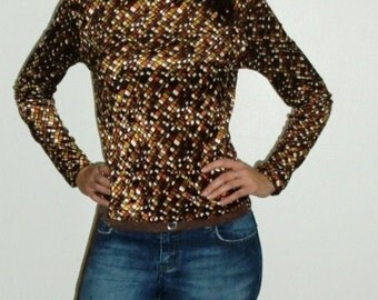 80s Guess Blouse Long Sleeved Brown and Gold Tones Velour Top - Long Sleeved Shirt