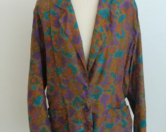 Vintage Silk Floral Blouse Sports Jacket by Sunny Leigh Hipster Funk Hippie Fall Fashion