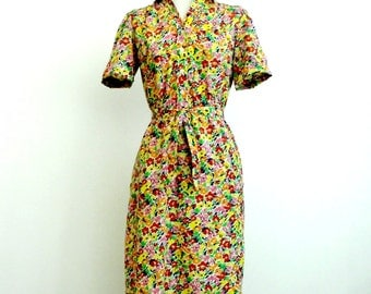 Vintage Abstract Pencil Dress - Rainbow Flower Splatter Design Button Up with Tie