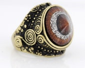 Special Gold-tone Brown Stone Crystal Ring,Size 7