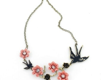Elegant Pink Flowers/Black Swallow Pendant Necklace