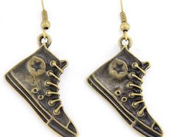 Vintage Feel Super Cute Small Sneaker Dangle Drop Earrings