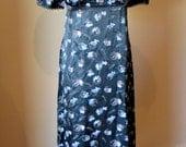 Vintage 1970s 'Empire Line' Evening Dress Black Satin - S