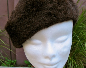 Vintage 1950s Chocolate Brown Faux Fur Style-Beret