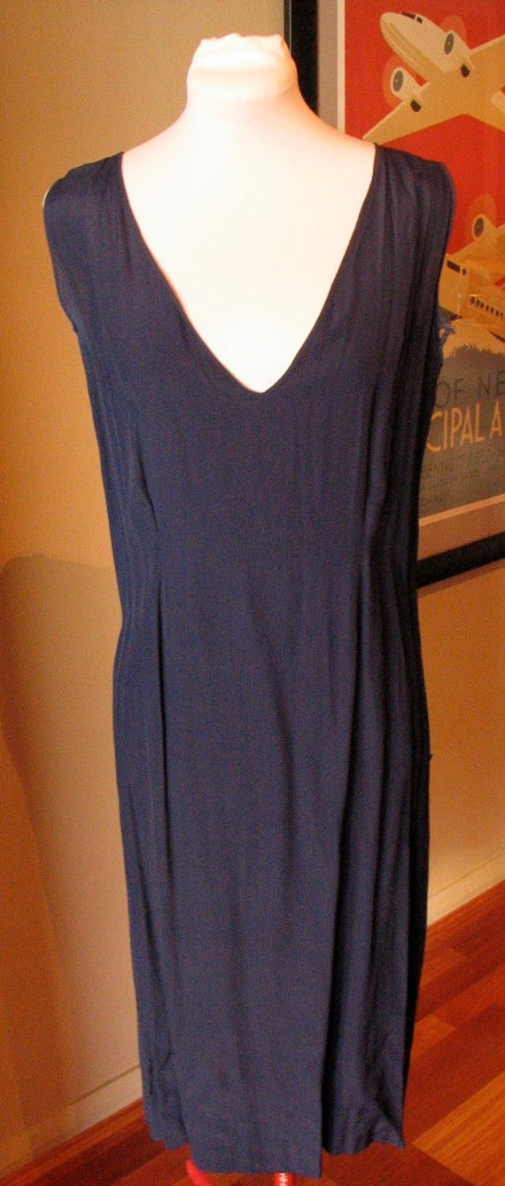 Vintage 1930s Rayon Navy Blue Slip - For Sheer Dresses - AS IS
