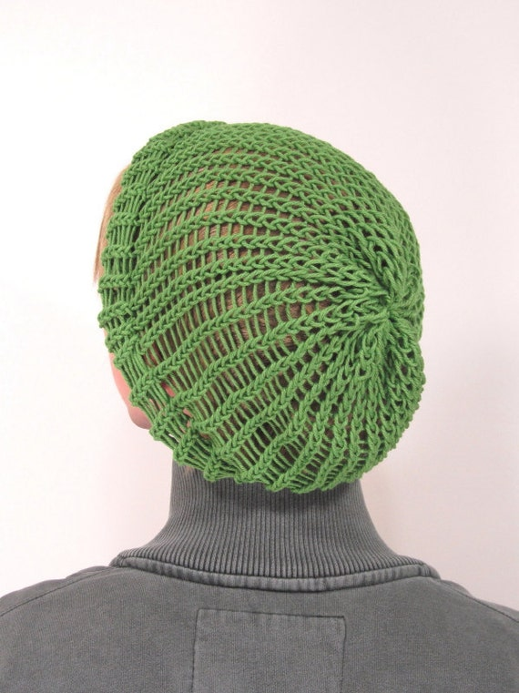 Knitting Pattern For Rasta Hat : Grass green slouchy knit rasta hat toboggan by MargaretVera