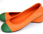 ANN. Orange shoes / womens flat shoes / leather ballet flats / orange leather / custom. sizes 35-43. Available in different leather colors.