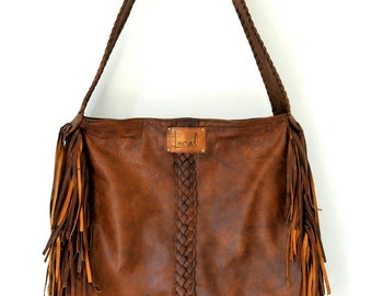 NAVAJO. Fringe leather bag / bohemian bag / boho leather bag / leather boho bag / tote bag / gypsy. Available in different leather colors.
