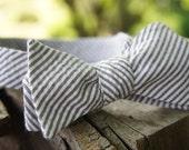 """Brown Seersucker Self Tie Adjustable Bow Tie (14.5""""-18.5"""")"""