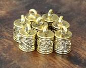 End Cap, Antique Golden, for 6mm Cord - 6 pcs - eCE001-AG