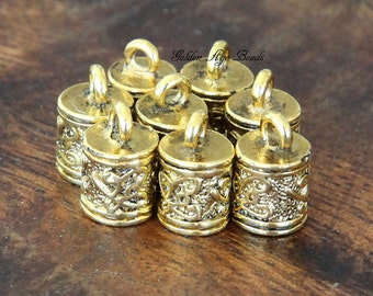 End Cap, Antique Golden, for 6mm Cord - 6 pcs - eCE001-AG