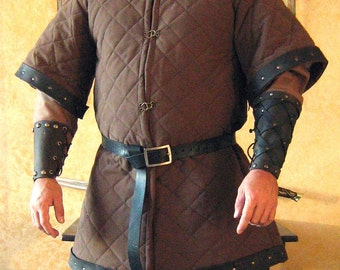 Medieval Celtic Viking Armor Padded Gambeson Short Sleeves with Leather Trims