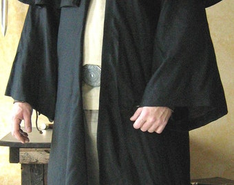 Medieval Celtic Hooded Cloak with Caplet and Long Sleeves