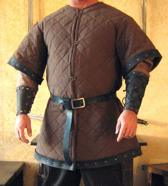 Medieval celtic viking armor padded gambeson short sleeves with