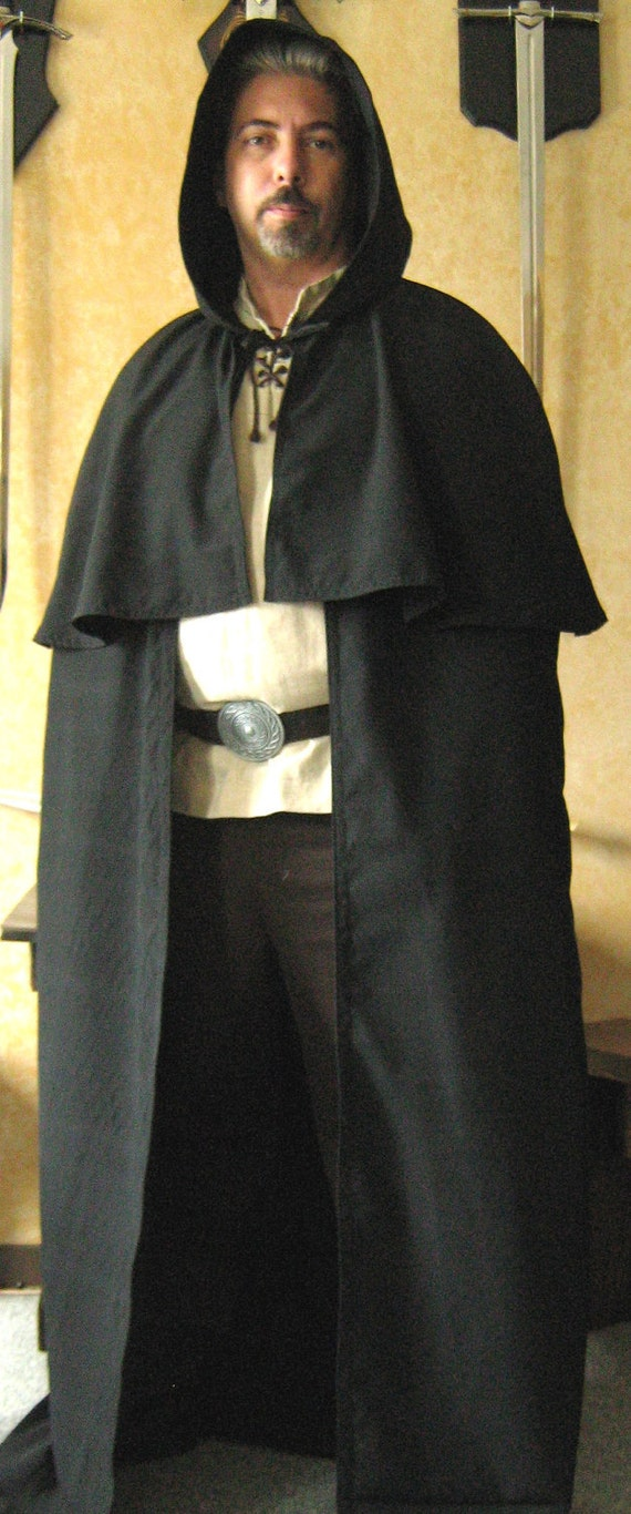 Medieval Celtic Viking Wizard Hooded Cloak with Mantle