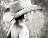 Children nursery decor art, Cowboy portrait dreamy photograph, Texas boy canvas or photo paper 8x8
