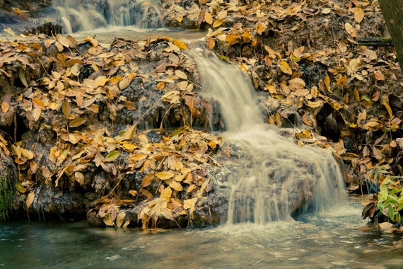 Waterfall Photo Print Fine Print, Wall Decor Print Krushuna Waterfalls 8x10 or 8x12, beige autumn harvest leaves, rustic