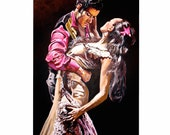 Flamenco Dancers, a print from an original acrylic painting.