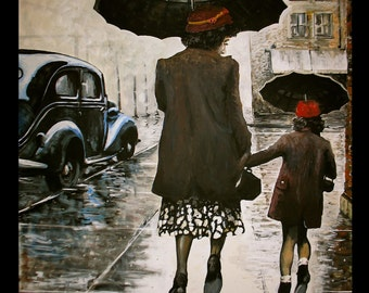 Rainy Day Shopping, a print of an original painting