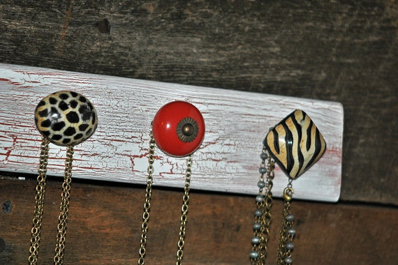 SALE / Necklace Holder with Red and Animal Print Knobs