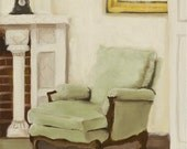 Original Oil Painting on Canvas - Grandma Lara's chair - 12 x 8 inches