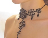 Dentelle Necklace, Black Iridescent French Beaded Lace Party Wedding Necklace on Satin Ribbon