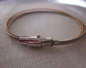 Recycled Mens Silver, Copper Guitar String Bracelet