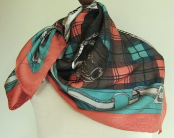 Silk scarf,  EQUESTRIAN scarf,  designer silk scarf,  Alfred Sung, large square scarf.  horse scarf, chic, timeless