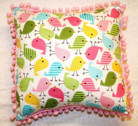 "Bird Pillow with Colorful Birds in Pinks, Greens, Yellows and Blues - ""Bird Song Pillow"""