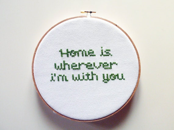 Home is wherever i'm with you - xstitch, cross stitch pattern, easy cross stitch, modern cross stitch- housewarming gift