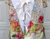 ROMANTIC SPRING TUNIC,  Handmade, Lagenlook, Crazy Quilted, Altered Couture, Shabby Chic Jacket, Wedding Wear, Long Tunic Dress, Frock, Wrap