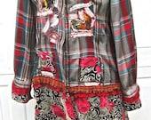 COWGIRL FARM TUNIC, Art Collage, Altered Couture Designer Shirt, Elegant Tattered Eco-Tunic, Handmade, Funky Farm Girl Shirt