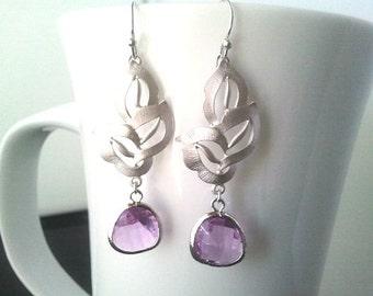 Lavender Silver Drop Earrings - Dangle,bridesmaid gifts,Wedding Earrings, gift, purple earrings