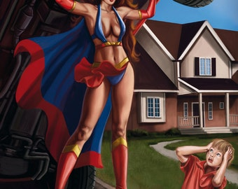 8x10 Signed Sexy Super Heroine and Child Print