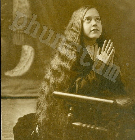 Long Haired Young Girl Saying Prayers Vintage Real Photo Postcard Antique Private Issue RPPC