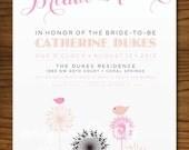 Flower and Birds Vintage Bridal Shower Invitation, Customizable, Printable