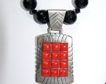 Impressive Black Jade Necklace and Mediterrean Coral set In Sterling Silverr Pendant