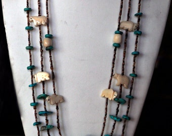 Native American Style Necklace with Turquoise,Fetishes and Turquoise