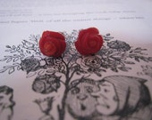 SALE was 43 Now 30 Queen of Hearts Red Roses Natural Red Coral and Sterling Silver Stud Earrings, hand carved